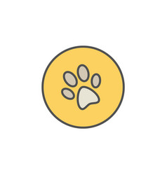 Dog trail or paw print colorful icon vector