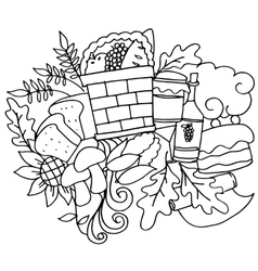 Doodle art hand draw thanksgiving vector image
