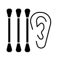Ear cleaning icon black sign vector