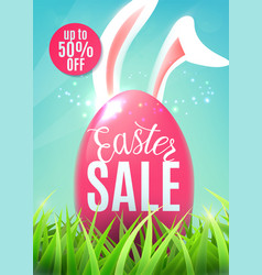 Easter sale banner with egg easter bunny ears vector