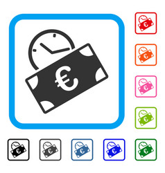 euro recurring payment framed icon vector image
