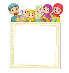 family is giving greeting ied mubarak vector image