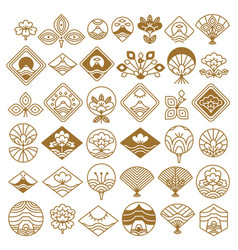 Fan and lotus fancy icons set vector