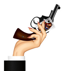 Female hand holding old gun and queen spades vector