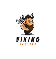 fun viking mascot cartoon logo vector image