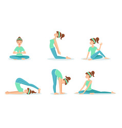 girl doing yoga in different poses set young vector image