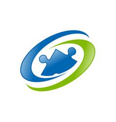 global human resource blue green symbol logo vector image