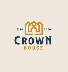 golden crown with rohouse logo template vector image