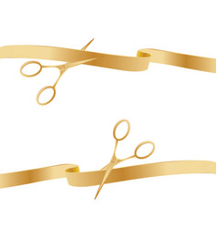 golden scissors cutting ceremony ribbons vector image