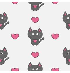 Gray contour cat holding pink heart set kawaii vector