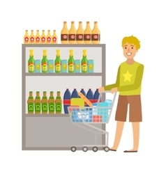 Guy Shopping For Alcoholic Drinks Shopping Mall vector image