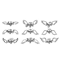 Hand drawn angel wings doodles holy angelic wing vector