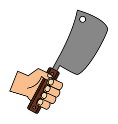 hand holding meat cleaver vector image