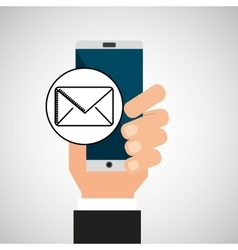Hand phone email message app media vector