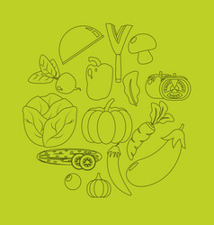 healthy and fresh vegetables silhouettes vector image