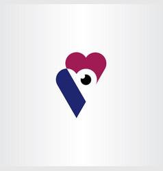 heart eye logo symbol icon vector image