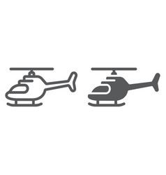 Helicopter line and glyph icon transportation and vector
