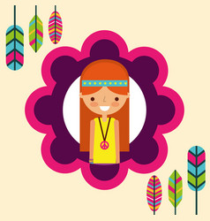 Hippie woman feathers bohemian free spirit vector