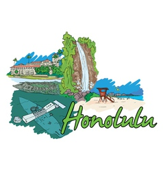 Honolulu doodles vector