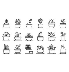 Houseplants icons set outline style vector