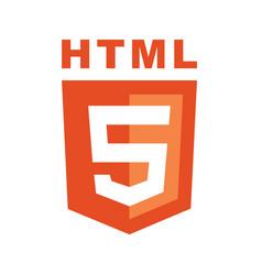 html5 emblem orange shield and white text vector image