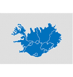 Iceland map - high detailed blue map vector
