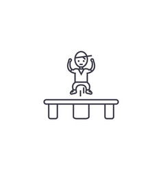 Jumping on trampoline line icon sig vector
