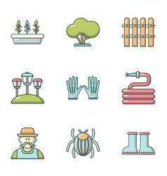 Lawn laying icons set cartoon style vector