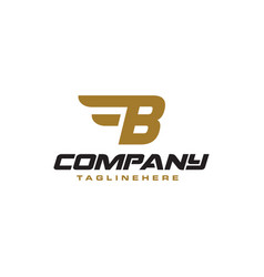 Letter b logo with simple wings design element vector