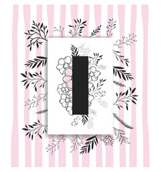 letter i with handmade font and floral decoration vector image