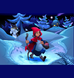 little red riding hood walking in wood vector image