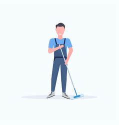 Male janitor in uniform mopping floor man cleaner vector