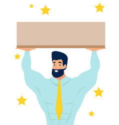 man holding a platform a sign in minimalist vector image
