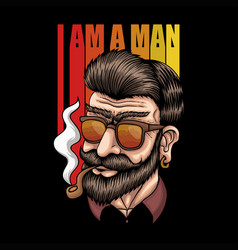 man smoke retro vector image