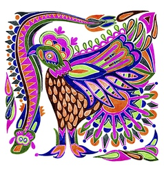 Marker painting bird ethnic design vector