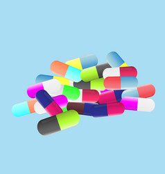 Medicine pills colorful tablets and capsules flat vector