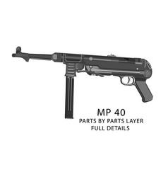 mp40 machine pistol ww2 weapons vector image