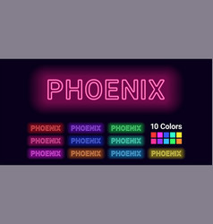 Neon name of phoenix city vector