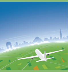 new delhi skyline flight destination vector image