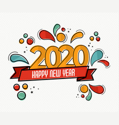 new year 2020 pop art card in funny comic style vector image