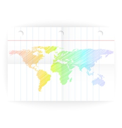 notepad ruled blank page with folds and map vector image