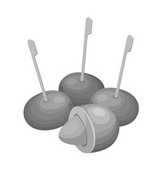 Olive with a stone on a stickolives single icon vector