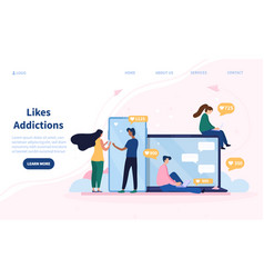 Online and social media like addictions concept vector