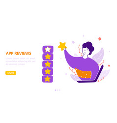online app review landing page flat template vector image
