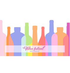 outlines contours wine bottles poster for wine vector image
