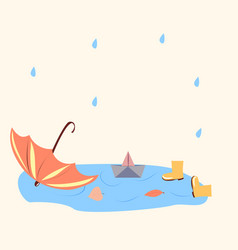 Paper boat in a puddle red umbrella vector