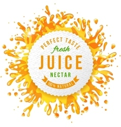 Paper emblem with juice splashes vector image