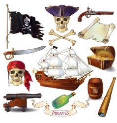 Pirates Cartoon Icons Set vector