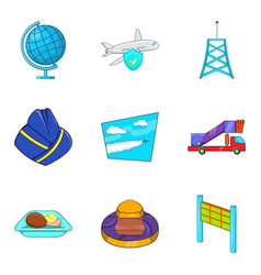 radio lighthouse icons set cartoon style vector image