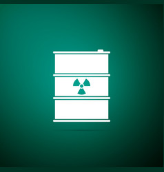 radioactive waste in barrel on green background vector image